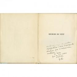 """bel envoi de Pierre Reverdy dans son livre """"Sources du vent"""""""