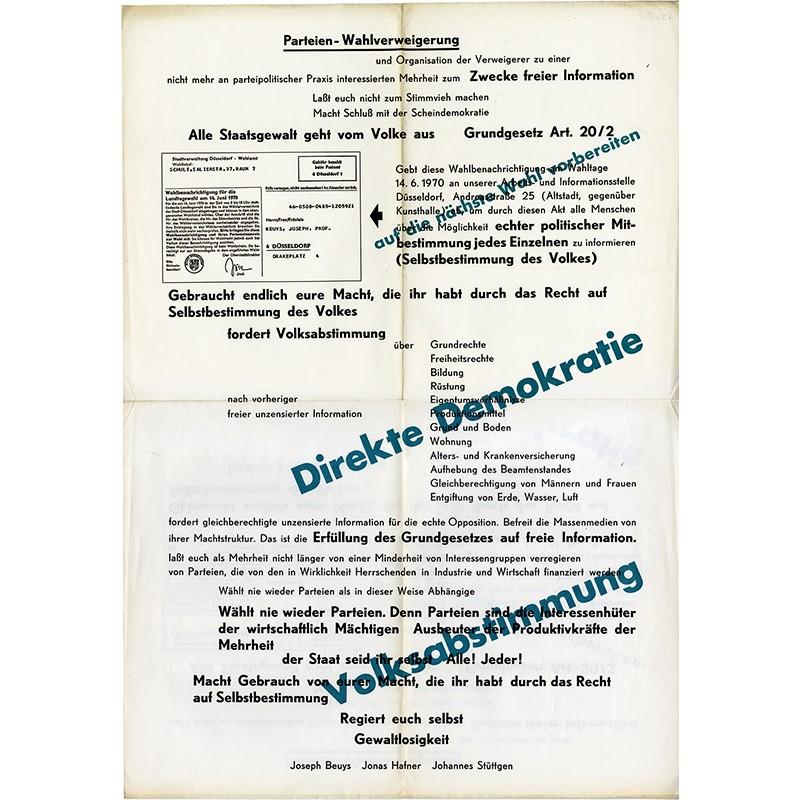 Joseph Beuys, Parteien-Wahlverweigerung, 1970