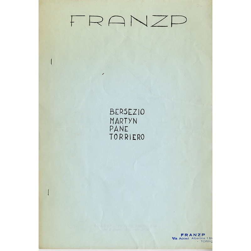 très rare catalogue de la galerie Frantzp (Franz Paludetto), à Turin