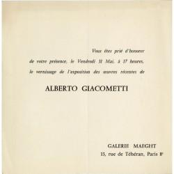 Carton d'invitation pour l'exposition d'Alberto Giacometti, Galerie Maeght, à Paris en 1961