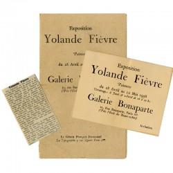 lot de documents (carton d'invitation, plaquette, article de presse) exposition de Yolande Fièvre, galerie Bonaparte,  1938