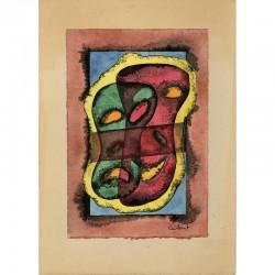 aquarelle originale sur papier, contrecollée sur carton, signée à l'encre, de Jean Cuillerat, s.d.
