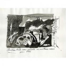 """dessin original à l'encre de Christine Piot d'après """"L'Empire de Flore"""" de Nicolas Poussin"""