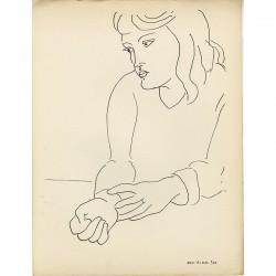 """""""Annelies"""", dessin de Matisse extrait de la revue """"Hommage"""" n°2 de juin 1944"""