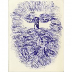 César, dessin avec tampons pour les Lettres françaises, 1966