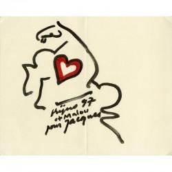 dessin original au feutre de Ladislas Kijno, avec envoi à Jacques Damase, 1997