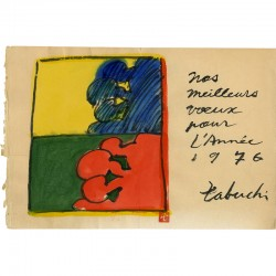 Gouache de Yasse Tabuchi pour une carte de voeux 1976