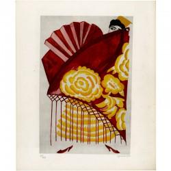 """""""Costume d'Espagnole"""", aquarelle de Nathalie Gontcharova, signée par l'artiste"""