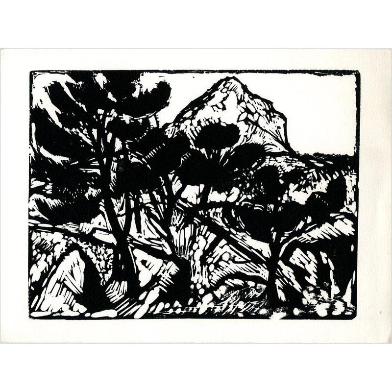bois gravé de Jacques Hallez vœux Société des Peintres-Graveurs français