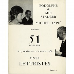 Onze lettristes, présentés par Michel Tapié, galerie de Rodolphe et Mic Stadler, 1966